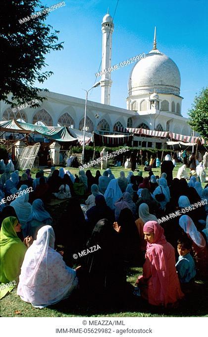 Prayer at Hazratbal Masjid Kashmir, India, Asia
