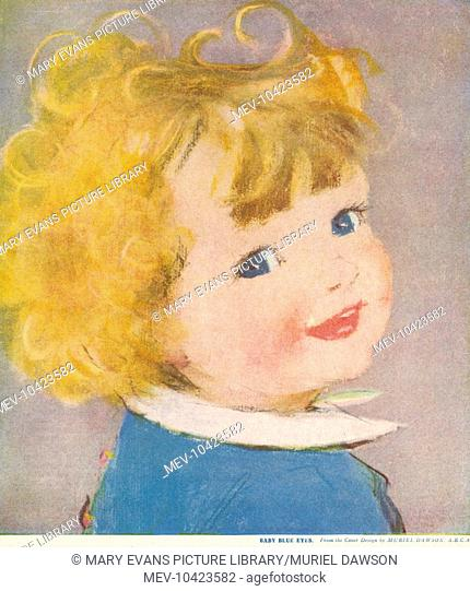 A jolly little girl with blonde curls and blue eyes
