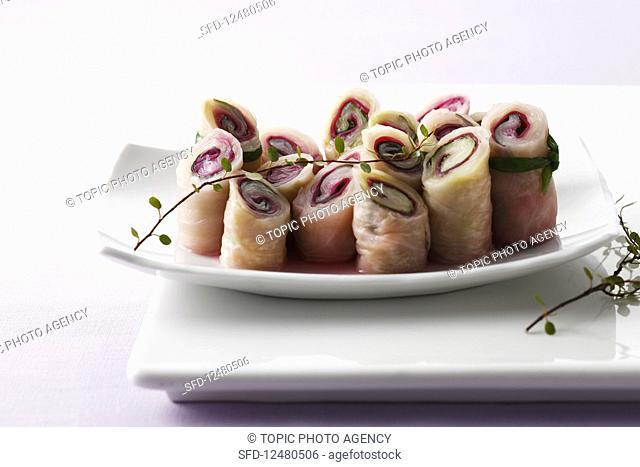 Kimchi rolls on a serving platter (Korea)