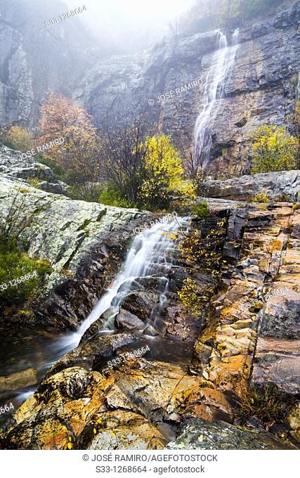 The Despeñalagua waterfall Sierra Norte Valverde de los Arroyos Guadalajara Castilla la Mancha Spain