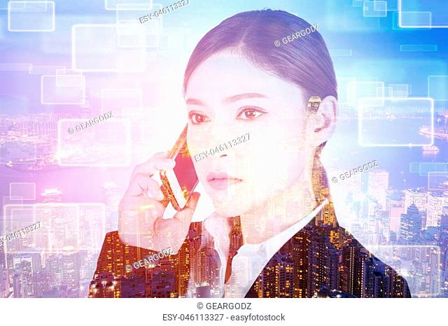 business woman talking on smartphone isolated on white background