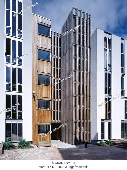NEWINGTON GREEN STUDENT HOUSING, NEWINGTON GREEN, LONDON, N16 STOKE NEWINGTON, UK, HAWORTH TOMKINS ARCHITECTS, EXTERIOR, DETAIL OF STAIR CORE BLOCK B