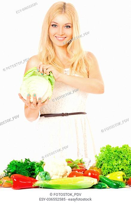 Happy beautiful woman with fresh vegetables, isolated on white background