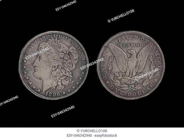 American silver eagle one dollar coin isolated on black background