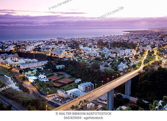 City from La Montaigne at dawn, Saint-Denis, Reunion island, France