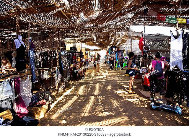 People in a market, Anjuna Beach Flea Market, Anjuna Beach, Anjuna, Bardez, North Goa, Goa, India