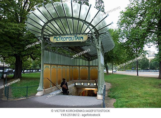 Art Nouveau subway entrance, Paris, Frnace