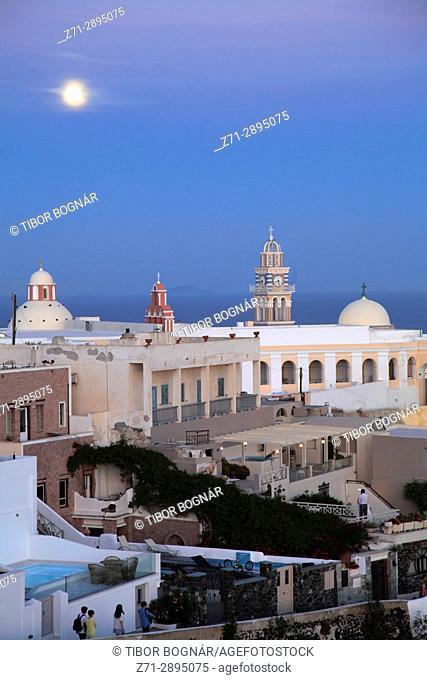 Greece, Cyclades, Santorini, Fira, St John the Baptist, catholic cathedral, full moon,
