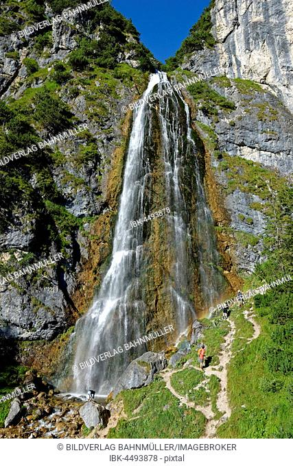 Hiker, Dalfazer waterfall, Rofan, Buchau, Lake Achen, Rofan Mountains, Tyrol, Austria