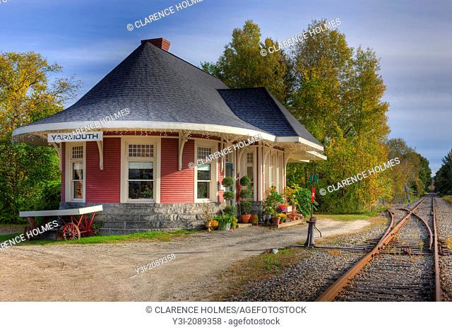 The historic Grand Trunk Railroad Station in Yarmouth, Maine was originally built in 1906