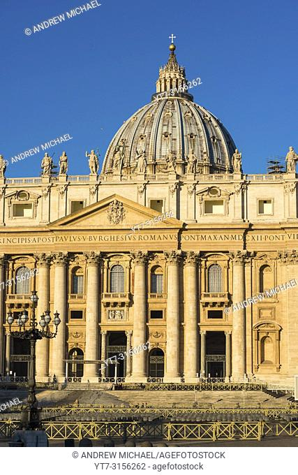 Papal Basilica of Saint Peter at St. Peter's square in early morning light, Vatican City, Rome, Italy