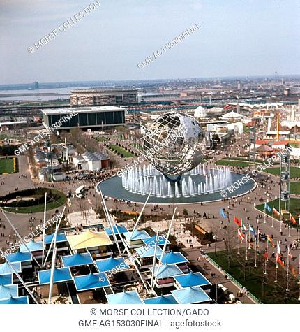 Panoramic aerial view facing north-northwest, taken from atop the New York State Pavilion observation tower at the New York World's Fair