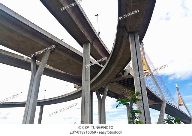Bhumibol bridge in Samut Prakarn Bangkok, Thailand