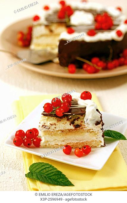 Cream tart with chocolate and red currants