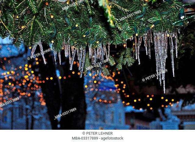Germany, Bavaria, Garmisch-Partenkirchen, Christmas fair, fir branches, icicles