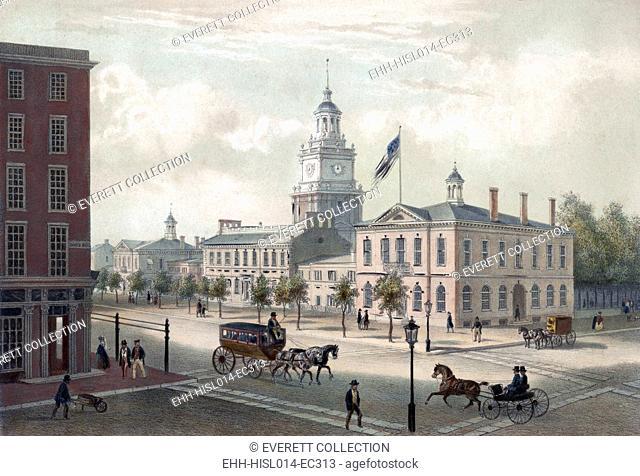 Philadelphia. A view of Independence Hall, Philadelphia. By Augustus Kollner 1848