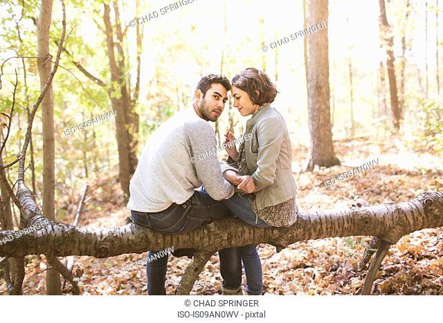 Couple sitting on fallen tree in autumn forest