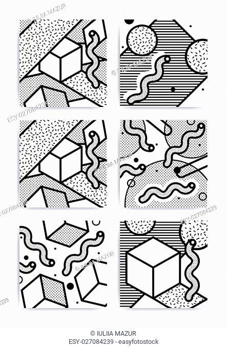 Black and white universal geometric seamless pattern in memphis style. Endless vector texture can be used for wrapping wallpaper, pattern fills, web background
