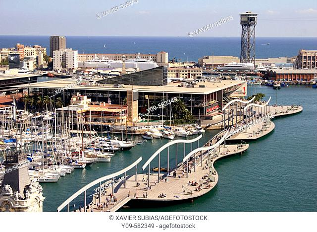Harbour, Rambla de Mar and Maremagnum leisure area. Barcelona, Spain