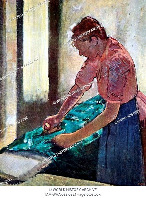 Painting titled 'Woman Ironing' by Edgar Degas (1834-1917) a French artist and sculptor. Dated 19th Century
