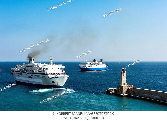 Europe, France, Alpes-Maritimes, Nice. SNCM Liner leaving the port from Corsica
