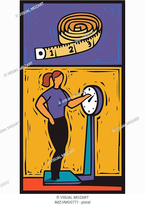 illustration of woman on a weigh scale
