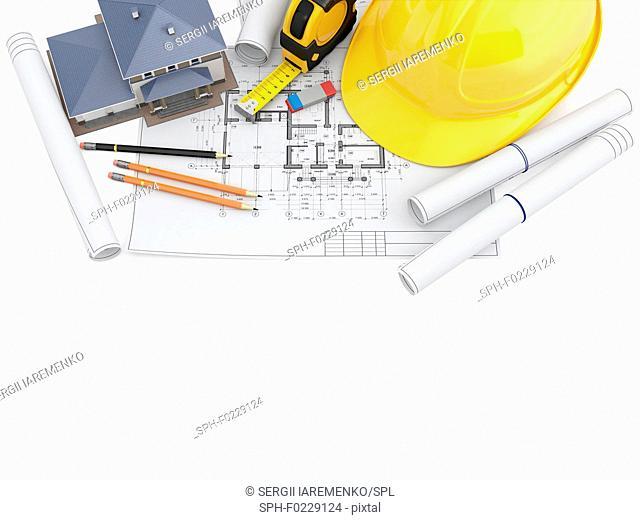 Architect's tools, illustration