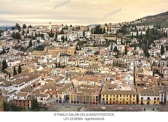 Albaicin neighborhood view from Alhambra, Granada, Spain
