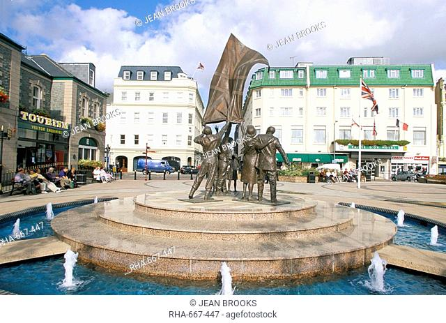 Liberation monument, St. Helier, Jersey, Channel Islands, United Kingdom, Europe