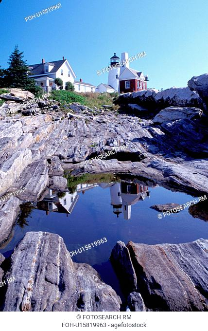 Pemaquid Head Light, lighthouse, Pemaquid Point, Bristol, Maine, ME, Pemaquid Head Light reflects in a pool of water along the rocky coast of the Atlantic Ocean