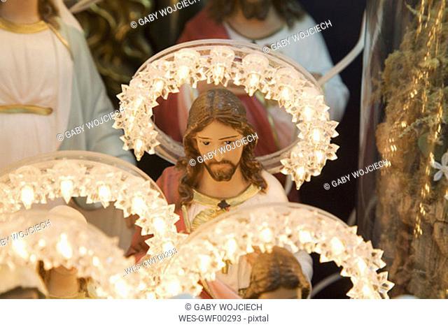 Virgin mary and Jesus figurines on Italian display