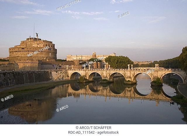 Bridge Ponte San Angelo with river Tiber and Castell Sant' Angelo Rome Lazio Italy Castello di Angelo