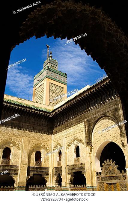 The Madrasa Bou Inania or Medersa Bu Inaniya. Souk Medina of Fez, Fes el Bali. Morocco, Maghreb North Africa