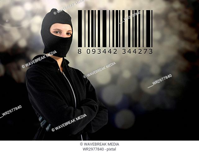 Woman hacker with hood in front of grey background with a bar code