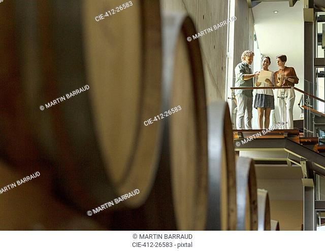 Winery employees talking on platform in cellar
