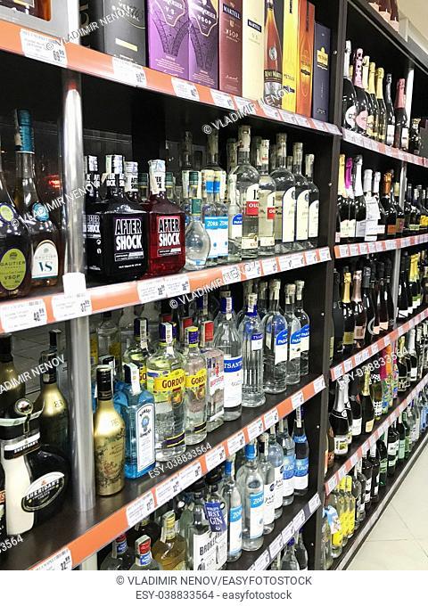 Pomorie, Bulgaria: Wine bottles in wine shop