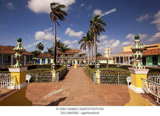 View to the park and colonial buildings at the Main Square-Plaza Mayor, Trinidad, Sancti Spiritu Province, Cuba , West Indies, Central America