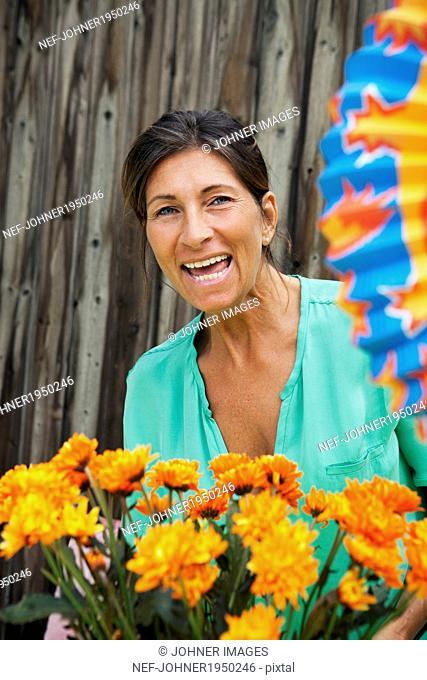 Portrait of happy mature woman, Sweden