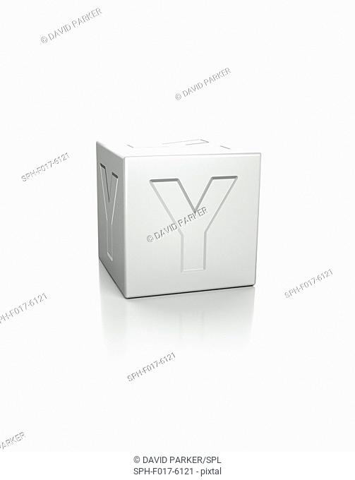Cube with the letter Y embossed