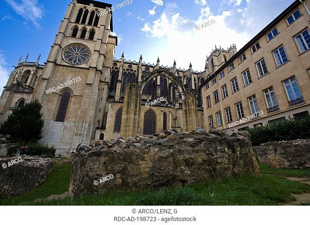 Cathedral, Jardin archeologique St-Jean, Lyon, Rhone, Rhone-Alpes, France