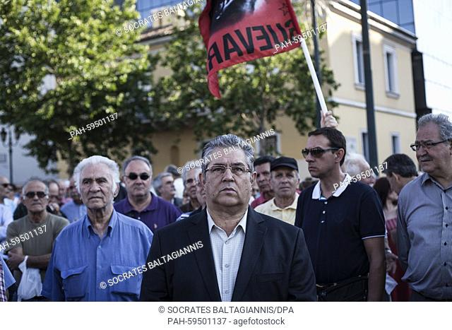 Dimitris Koutsoumpas (C), General Secretary of the Communist Party of Greece participates in an anti-austerity protest organized by pensioners unions in Athens