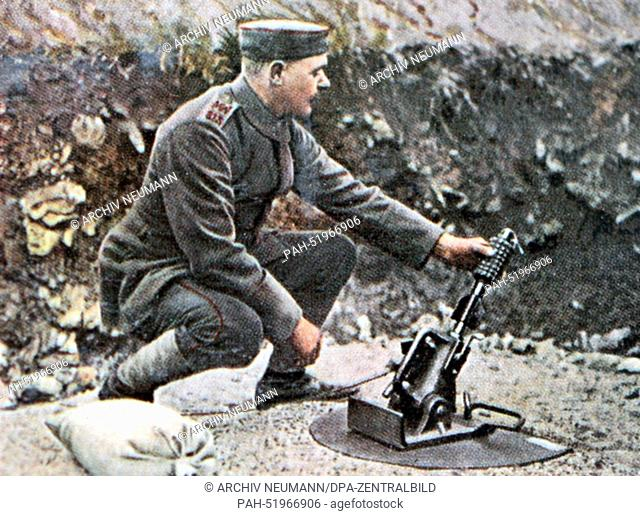 The contemporary colorized German propaganda photo shows German soldiers in the trenches launching grenades date and location unknown (1914-1918)