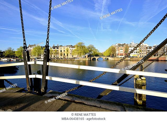 Netherlands, North Holland / Noord-Holland, Amsterdam, Amstel River, Bridge over Nieuwe Herengracht canal