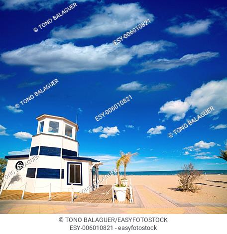 Gandia Beach sand in Mediterranean Sea of Spain at Valencian Community