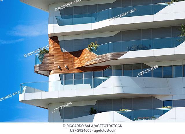 Italy, Lombardy, Milan, CityLife, Zaha Hadid Residences, Detail Facade. .