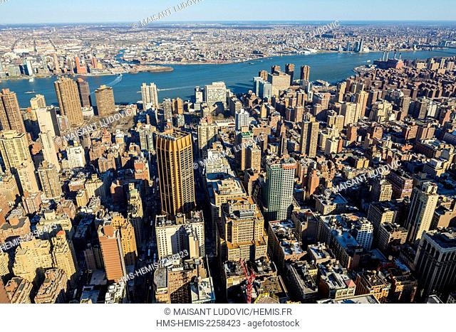 United States, New York, Manhattan, view from the Empire State Building on the Kips Bay district with basically the East River and Brooklyn Newtown Creek