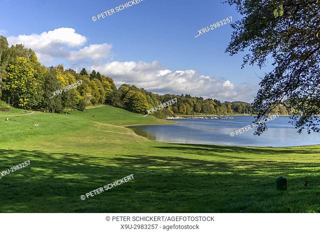 Lake Hennesee in autumn, nature park Park Sauerland-Rothaargebirge, North Rhine-Westphalia, Germany, Europe