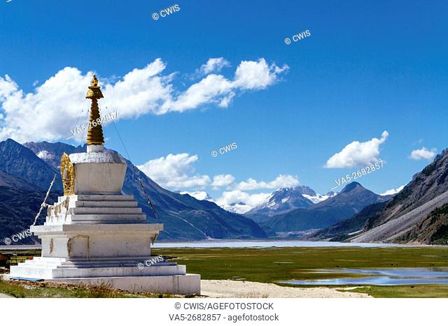 Rawu, Nyingchi, Tibet - Beautiful landscape of Laigu glacier in the daytime with a white tower