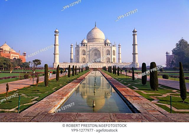 The Taj Mahal and reflection, Agra, Uttar Pradesh, India