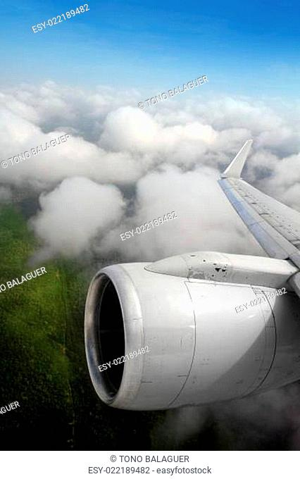 airplane wing aircraft turbine flying